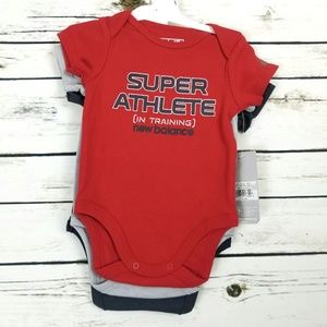 Bodysuit 0-3 Month Athlete Red Gray 3 Pack